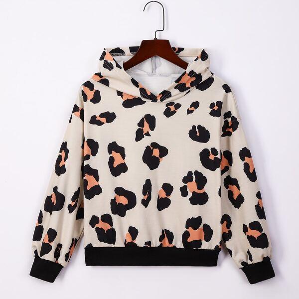 Girls Leopard Print Drop Shoulder Hoodie, Multicolor
