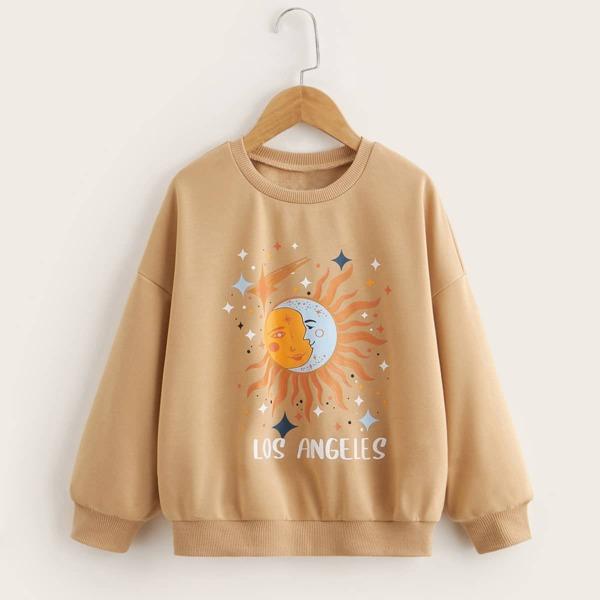 Girls Letter & Sun Print Drop Shoulder Sweatshirt, Apricot