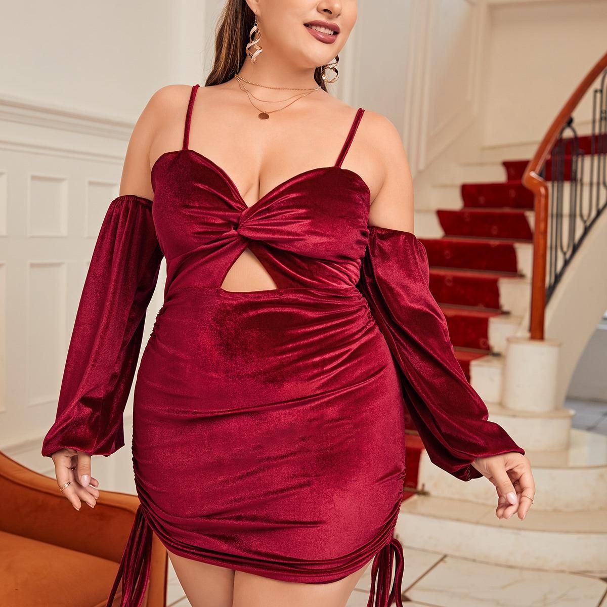 Plus Twist Bust Cold Shoulder Drawstring Side Velvet Bodycon Dress