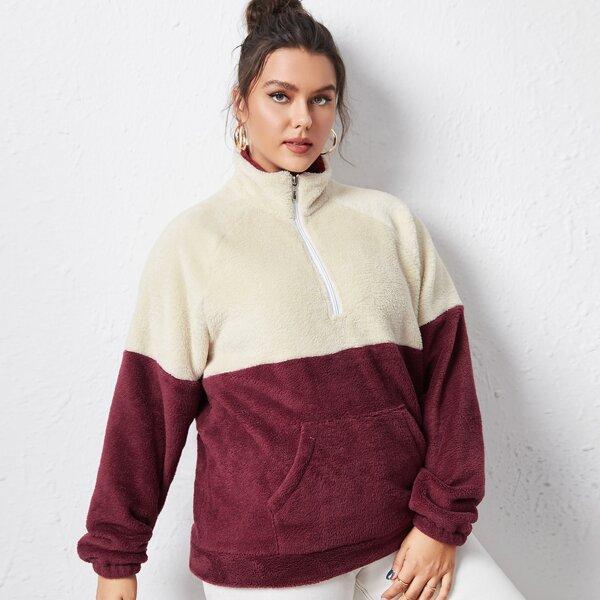 Plus Two Tone Raglan Sleeve Kangaroo Pocket Half Zipper Teddy Pullover, Multicolor