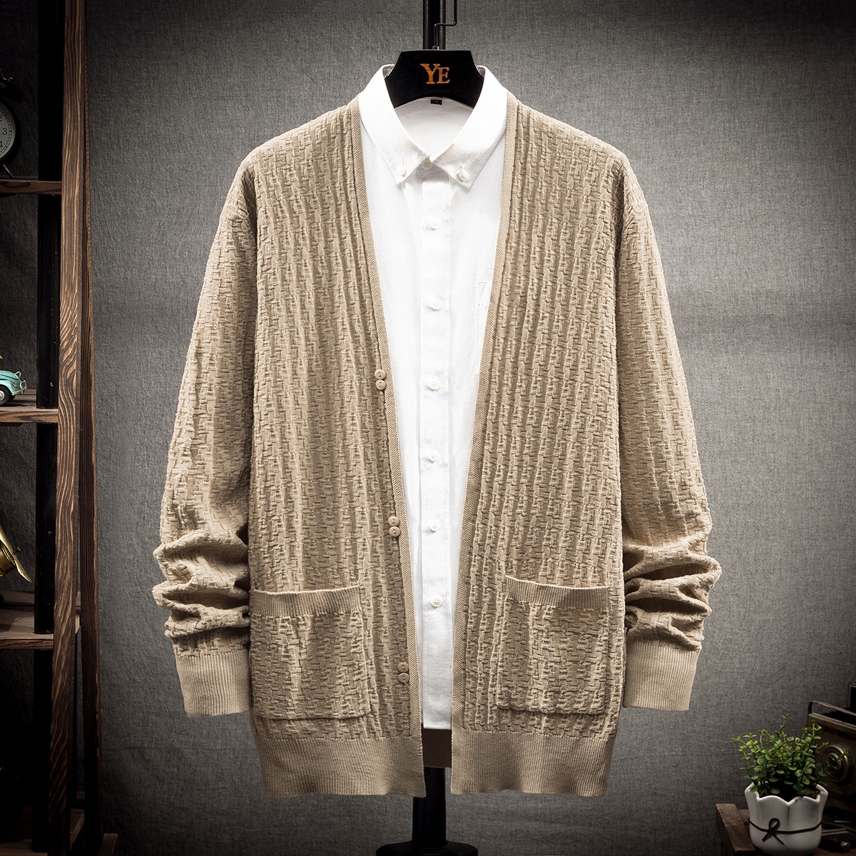 Men 1pc Textured Solid Cardigan