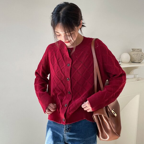 Pointelle Knit Raglan Sleeve Cardigan, Burgundy