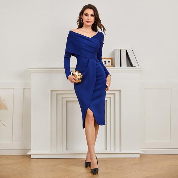 Asymmetrical Neck Wrap Hem Bodycon Dress, Royal blue