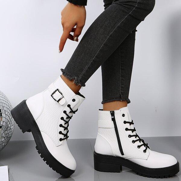 Buckle Decor Lace-up Front Combat Boots, White