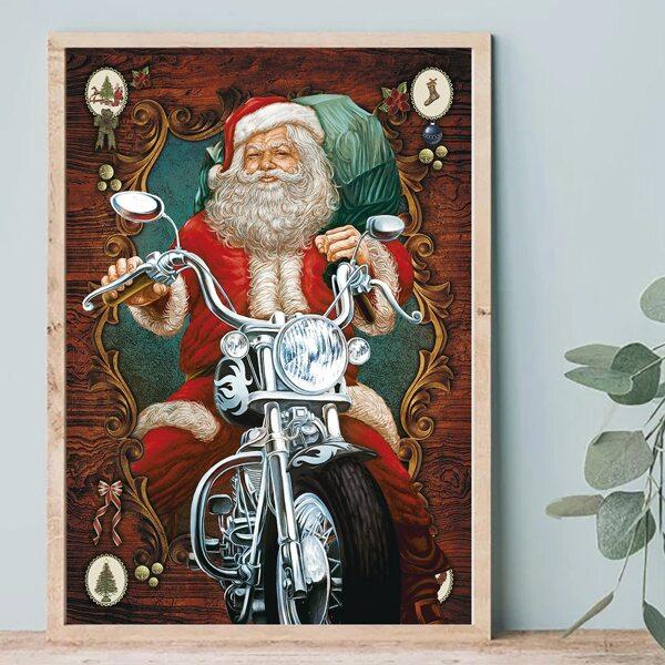 1pc Christmas Santa Claus Print Unframed Painting, Multicolor