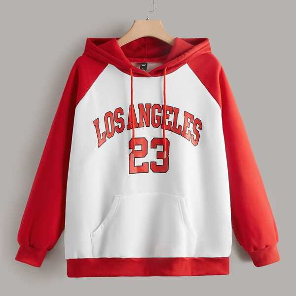 Plus Letter Graphic Raglan Sleeve Two Tone Drawstring Hoodie, Red and white