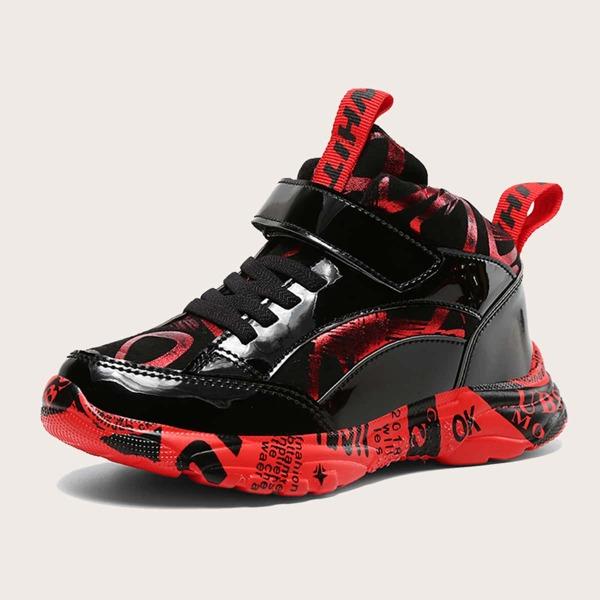 Boys Metallic Letter Graphic Velcro Strap Chunky Sneakers, Multicolor