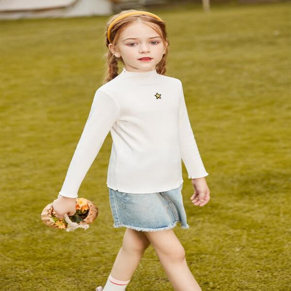 Girls Stand Neck Star Patched Tee, White