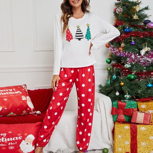 Christmas Print Tee & Polka Dot Print Pants PJ Set, White