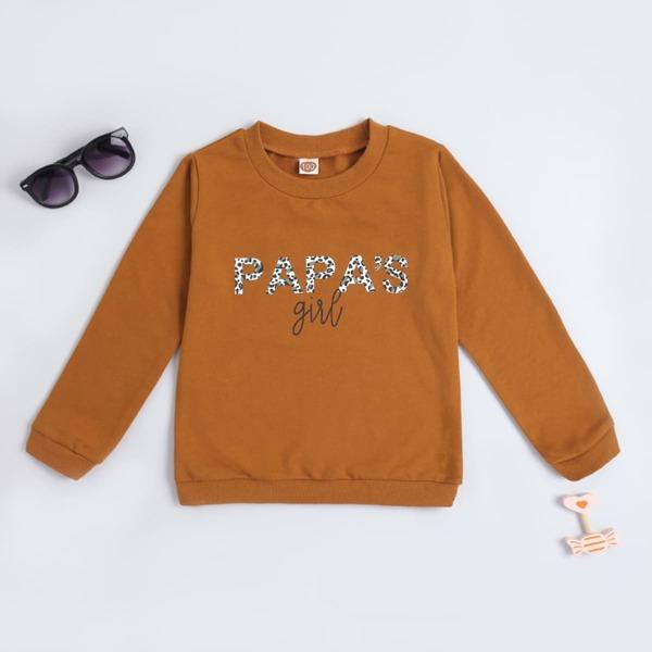 Toddler Girls Letter Graphic Sweatshirt, Brown