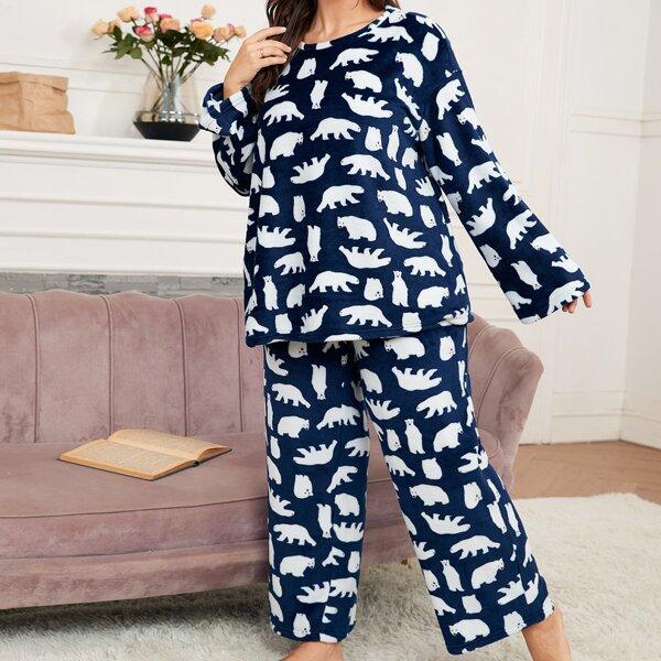 Plus Cartoon Graphic Drop Shoulder Flannel Top & Pants PJ Set, Blue and white
