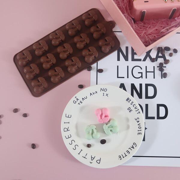1pc 15 Grid Cherry Chocolate Mold, Chocolate brown