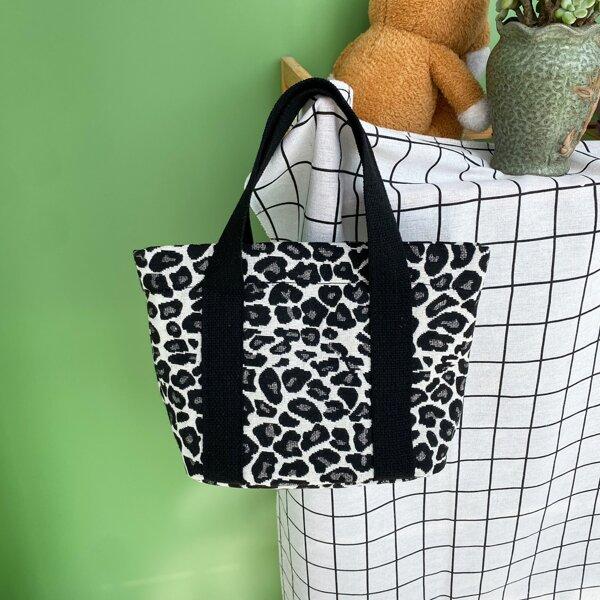 Leopard Pattern Canvas Satchel Bag, Multicolor