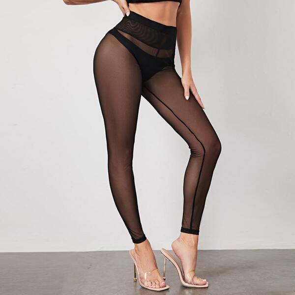 See Through Mesh Leggings Without Panty, Black