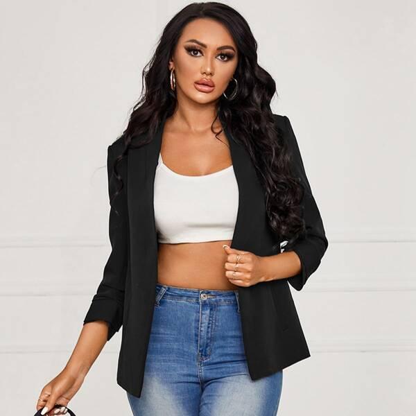 Solid Open Front Blazer, Black