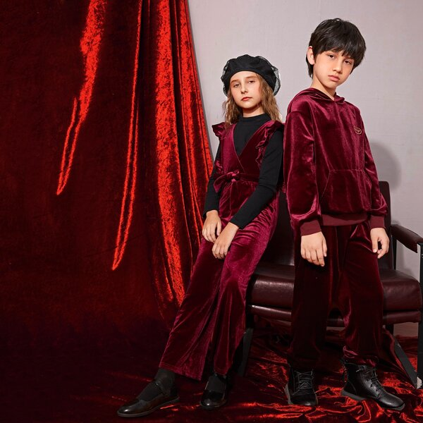 Girls Ruffle Trim Belted Velvet Jumpsuit Without Top, Burgundy