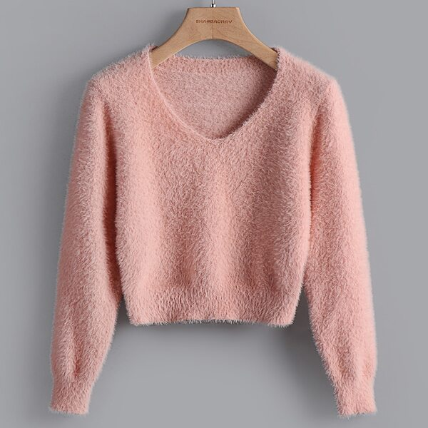 Girls Solid Fluffy Knit Sweater, Dusty pink