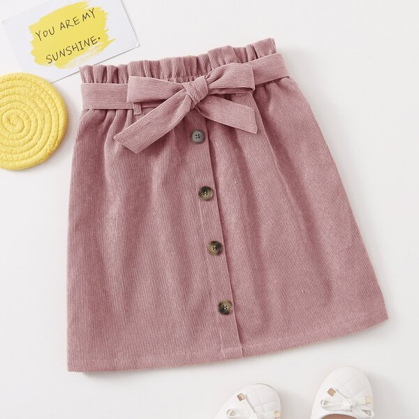 Girls Paperbag Waist Belted Button Front Skirt, Dusty pink