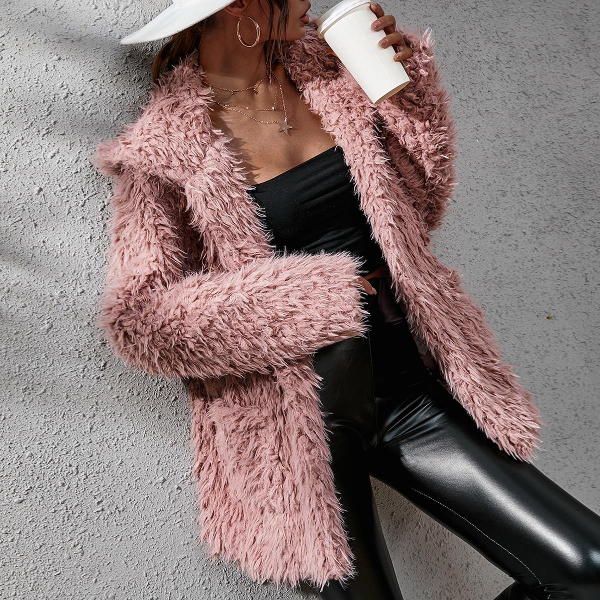 Hooded Open Front Fuzzy Coat