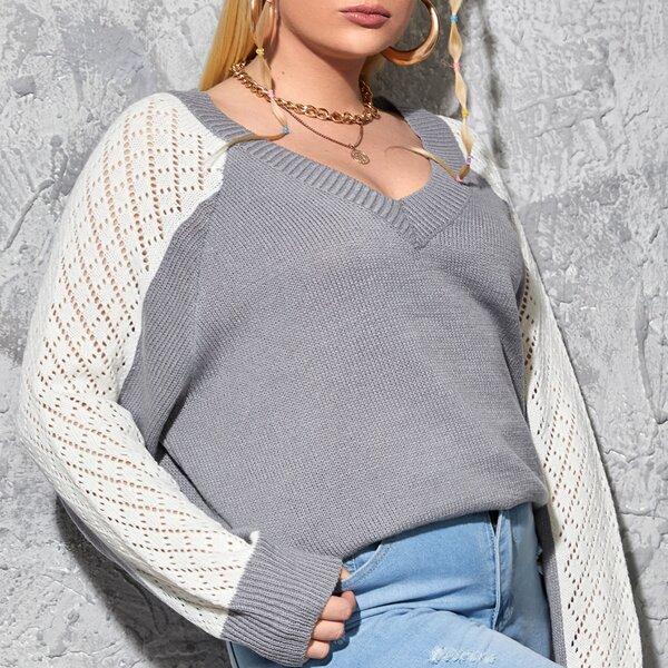 Plus Pointelle Knit Raglan Sleeve Two Tone Sweater, Multicolor