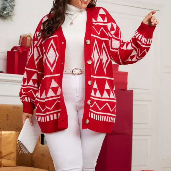 Plus Geo Pattern Drop Shoulder Cardigan, Red and white