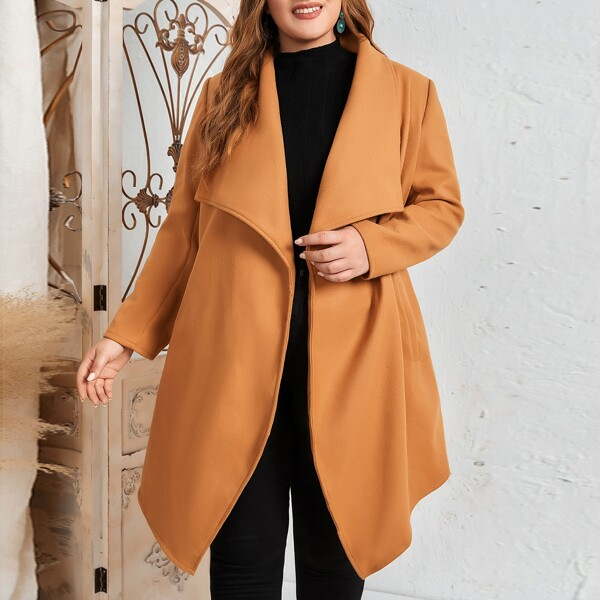 Plus Waterfall Collar Slant Pockets Belted Overcoat, Camel