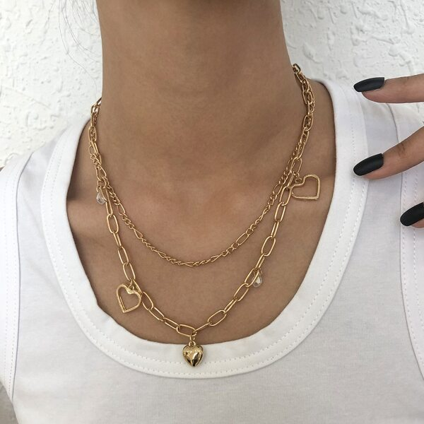 Heart Charm Layered Necklace, Gold