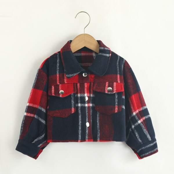 Toddler Girls Plaid Flap Pocket Crop Overcoat, Burgundy