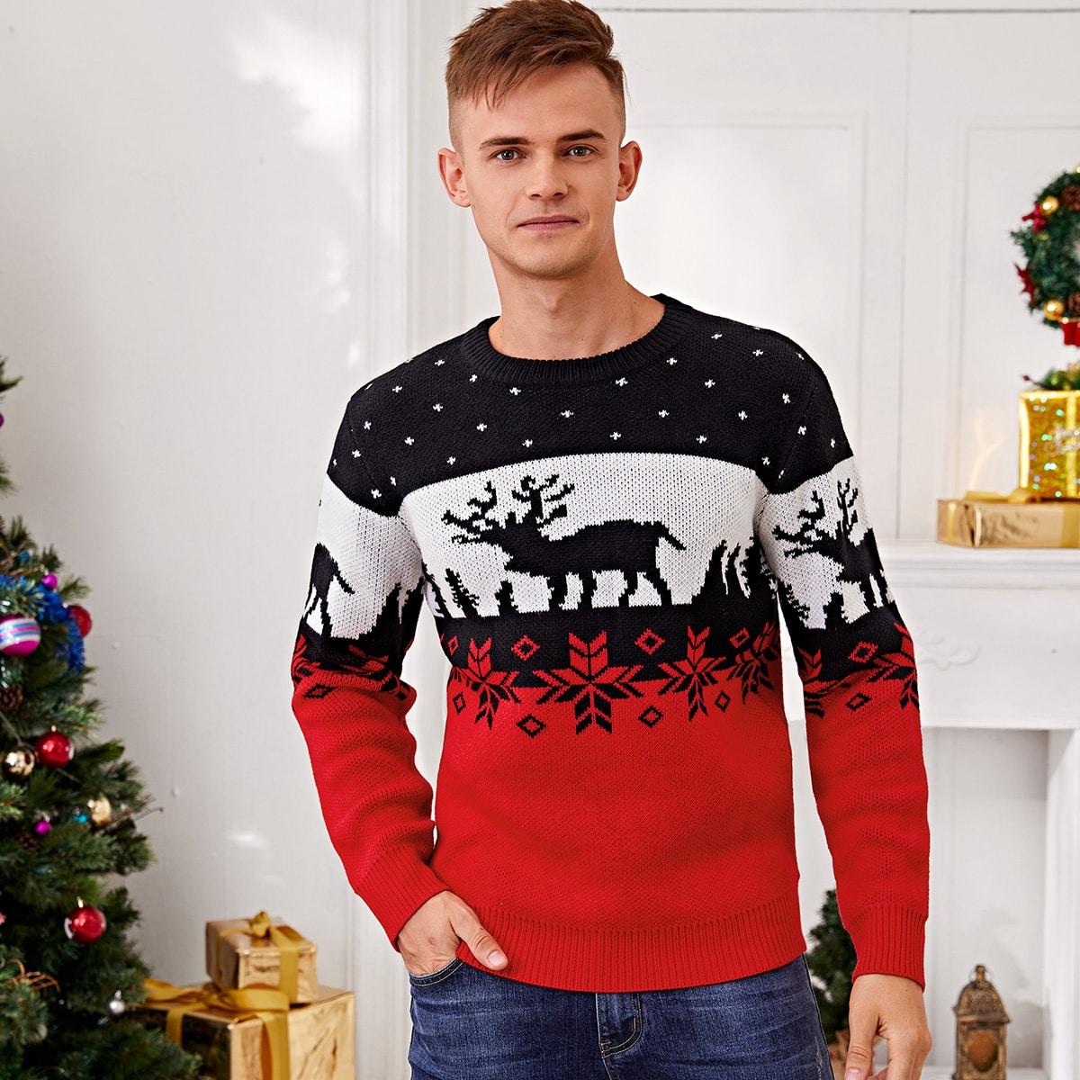 для мужчины Свитер с рождественским узором Контрастный