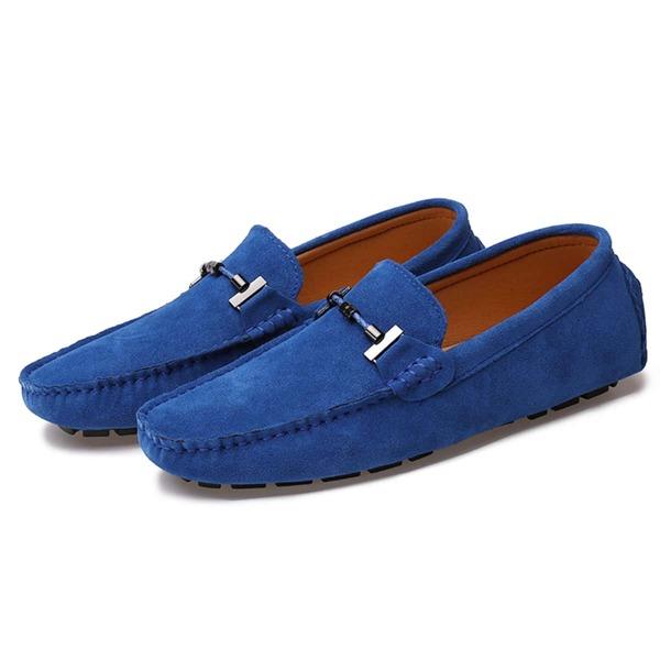 Men Minimalist Stitch Trim Loafers, Royal blue