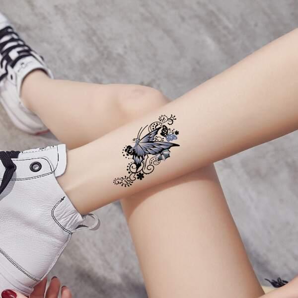 1sheet Butterfly Pattern Tattoo Sticker, Blue