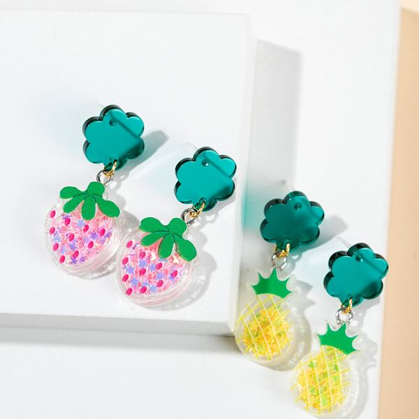 2pairs Strawberry & Pineapple Drop Earrings, Multicolor