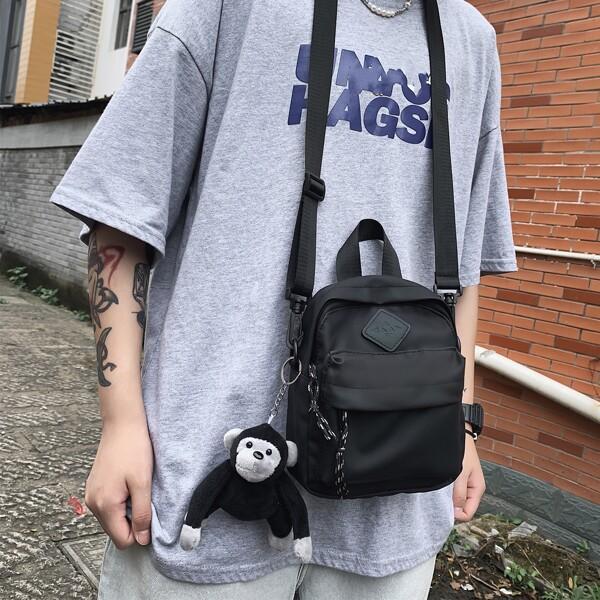 Men Doll Decor Geometric Patch Square Bag, Black