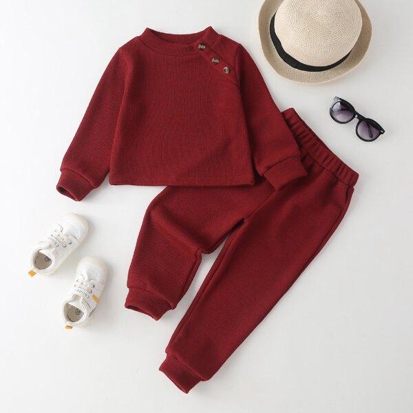 Toddler Girls Ribbed Knit Button Side Sweatshirt & Sweatpants, Burgundy