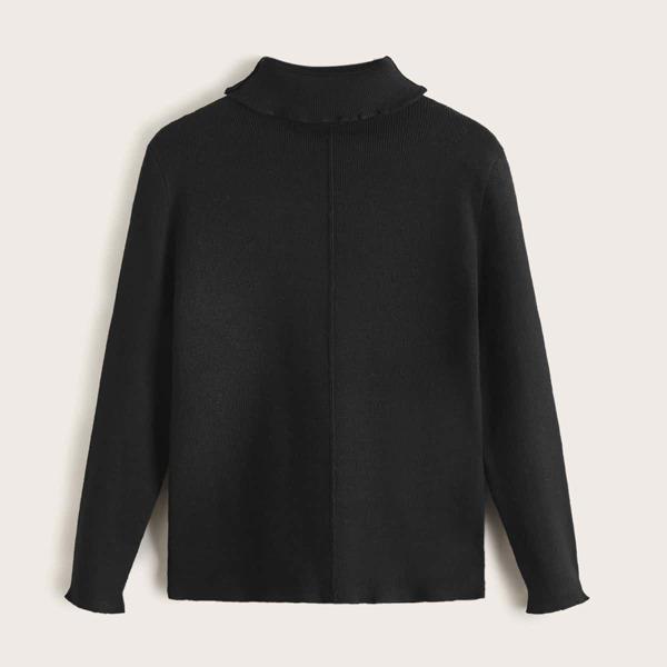Girls Turtleneck Ribbed Knit Sweater, Black