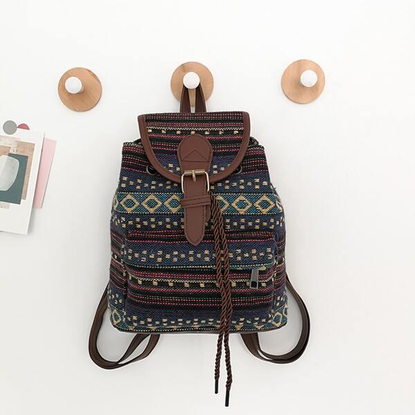 Buckle Decor Pocket Front Flap Backpack, Multicolor