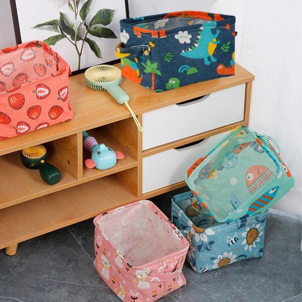 1pc Cartoon Graphic Random Desktop Storage Basket, Multicolor