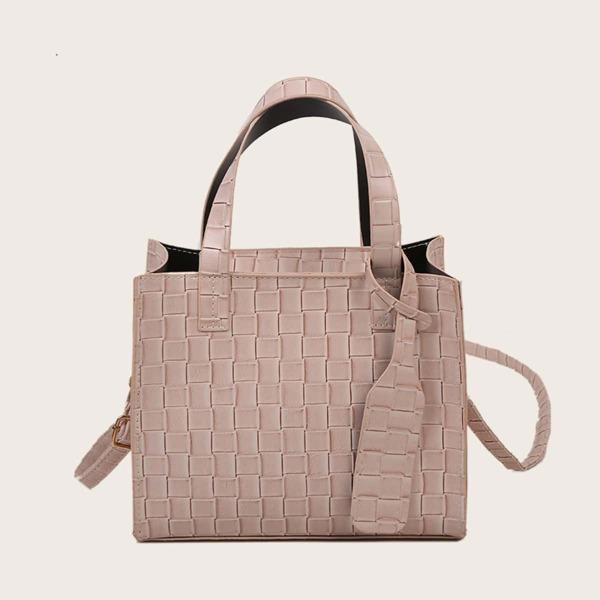 Minimalist Braided Design Satchel Bag, Khaki