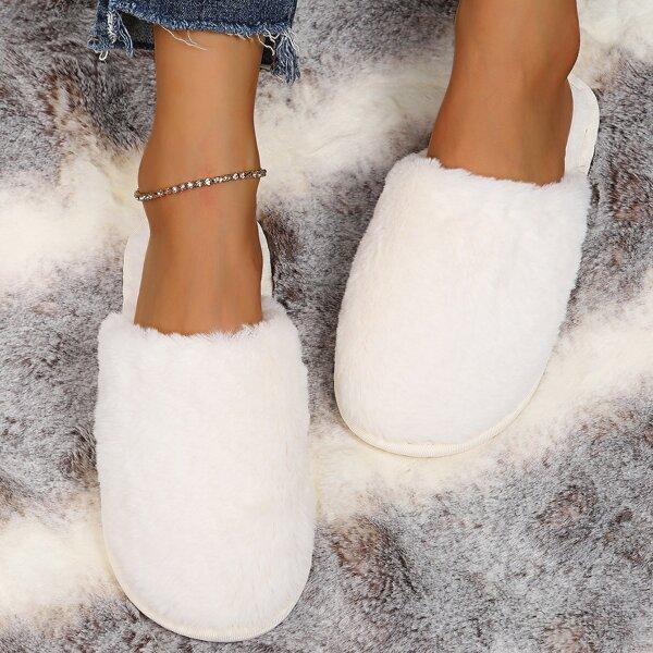 Minimalist Fuzzy Slippers, Beige