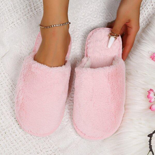Minimalist Fuzzy Slippers, Pink