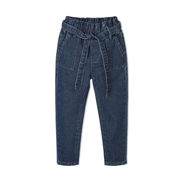 Toddler Girls Paperbag Waist Belted Tapered Jeans, Dark wash