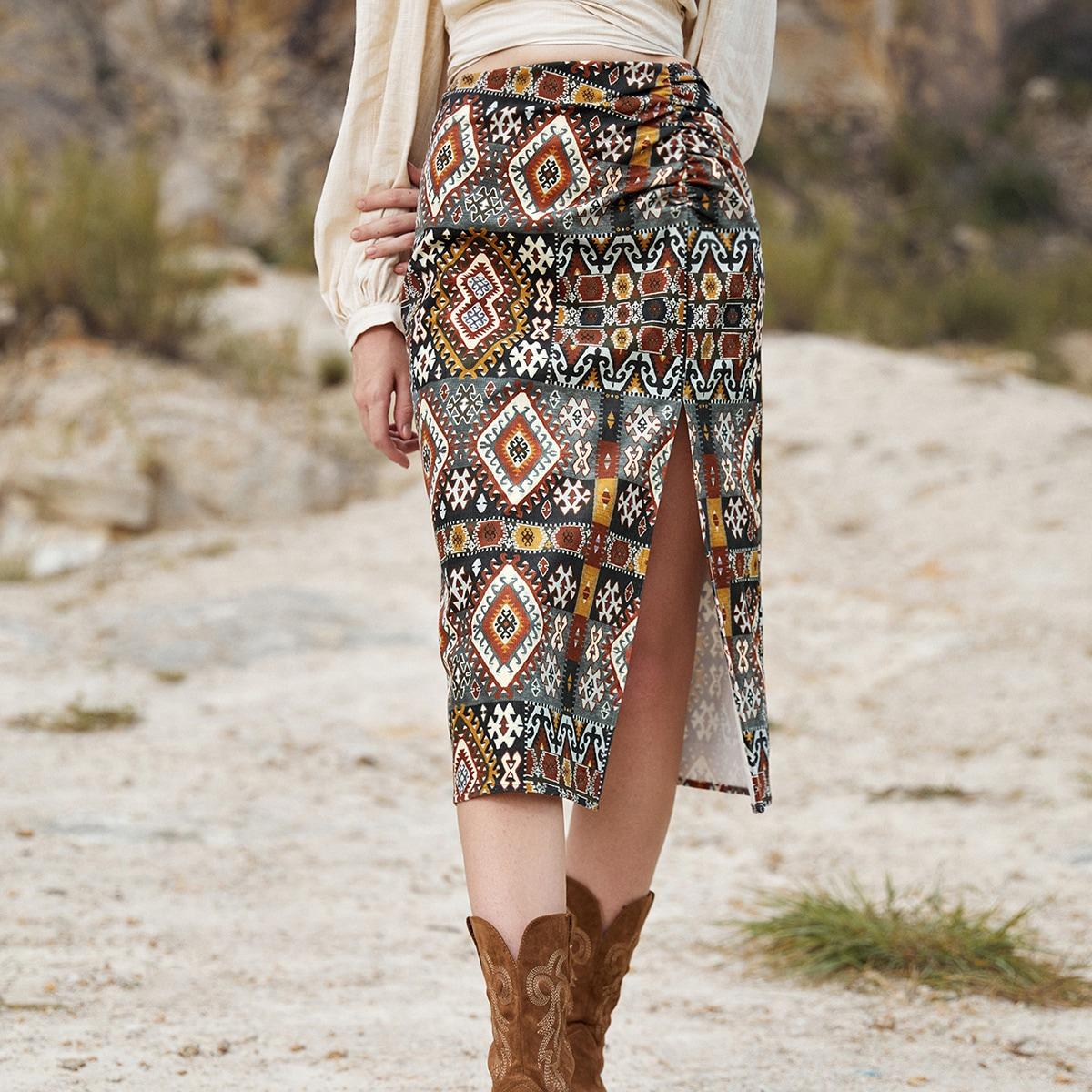 Falda de talle alto con estampado geométrico fruncido de muslo con abertura