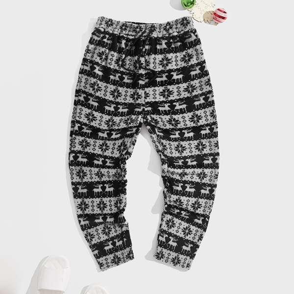 Men Christmas Print Drawstring Waist Teddy Pajama Pants, Multicolor