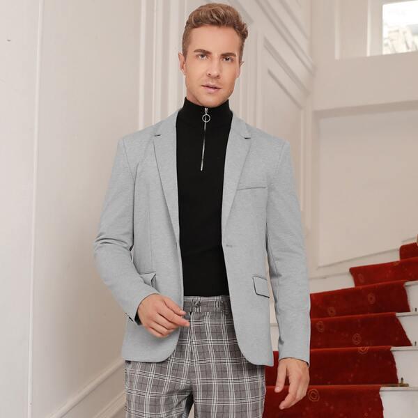 Men 1pc Lapel Neck Single Button Blazer, Light grey