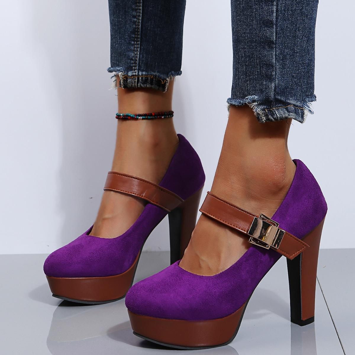 Туфли мэри джейн из замши на каблуке