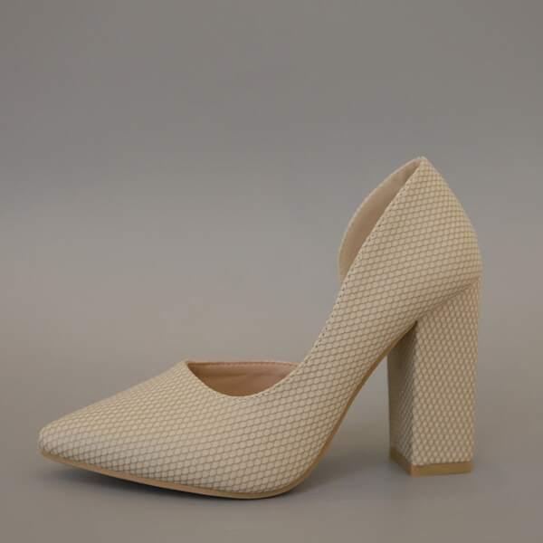 Minimalist Chunky Heeled Court Heels, Apricot