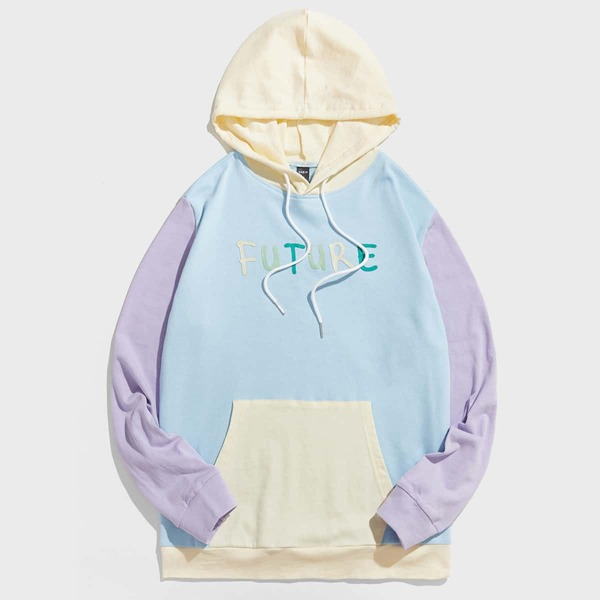 Men Cut And Sew Letter Graphic Drawstring Hoodie, Multicolor