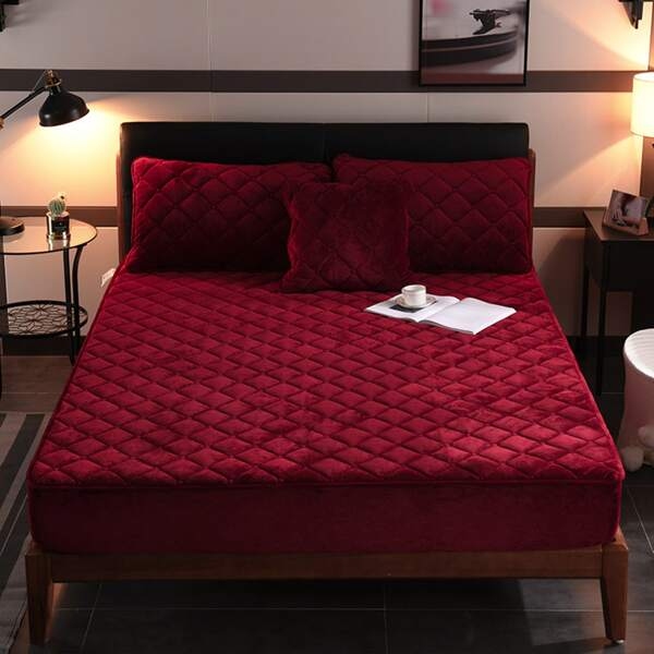 Plain Quilted Fitted Sheet Set Without Filler, Burgundy