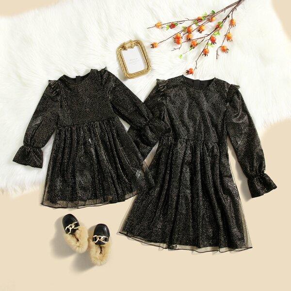 Girls Polka Dot Print Contrast Mesh A Line Dress, Black