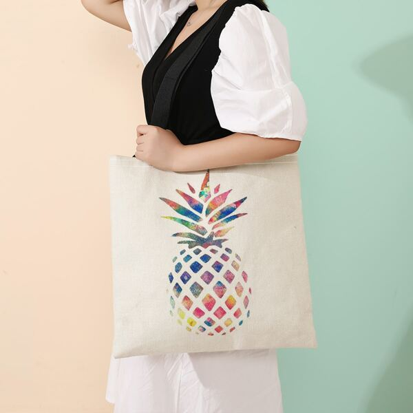 Ombre Pineapple Graphic Shopper Bag, Multicolor